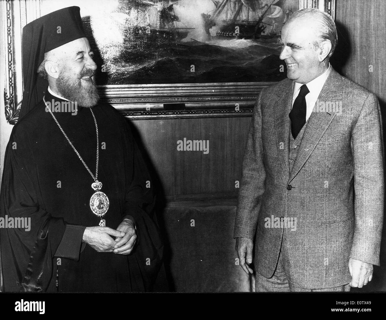 Archbishop Makarios III visits Konstantinos Karamanlis - Stock Image