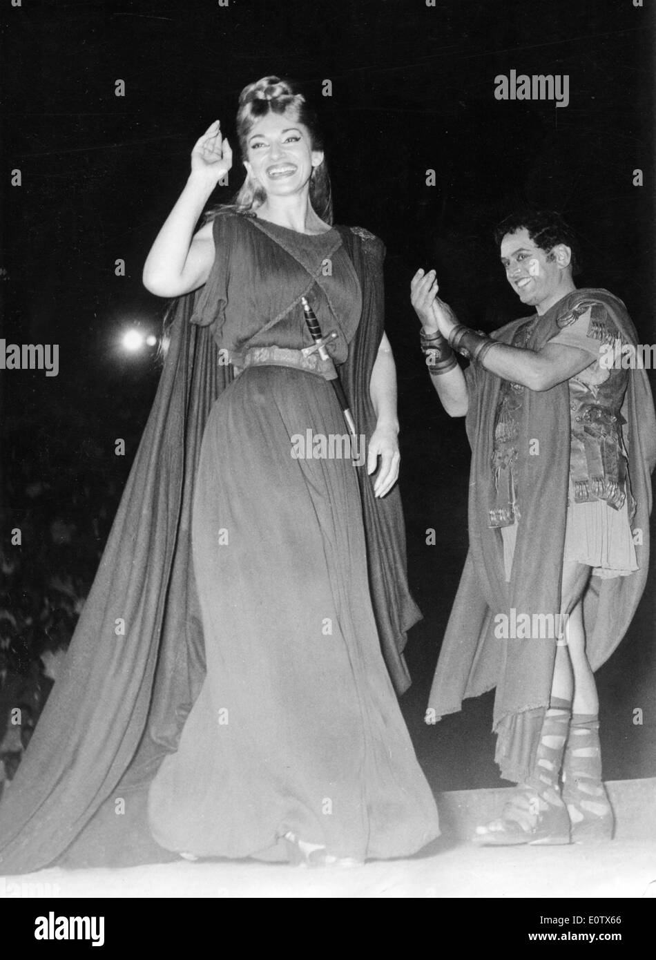 Singers Maria Callas and Mirto Picchi on stage after performing 'Norma' - Stock Image