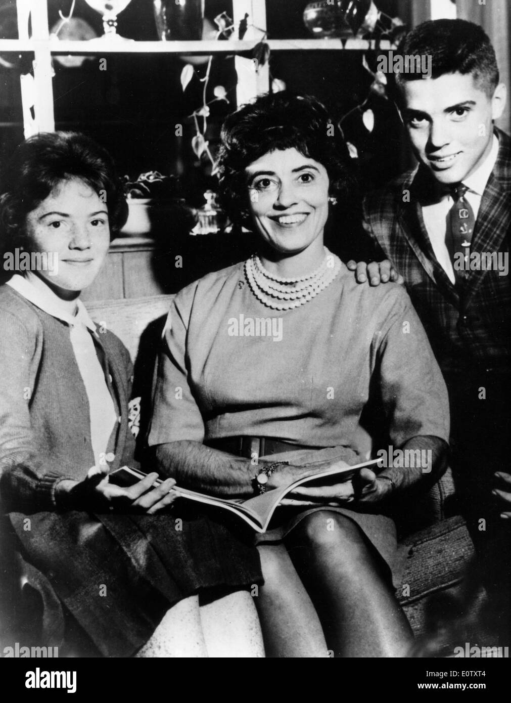 Annie Glenn and her two children - Stock Image