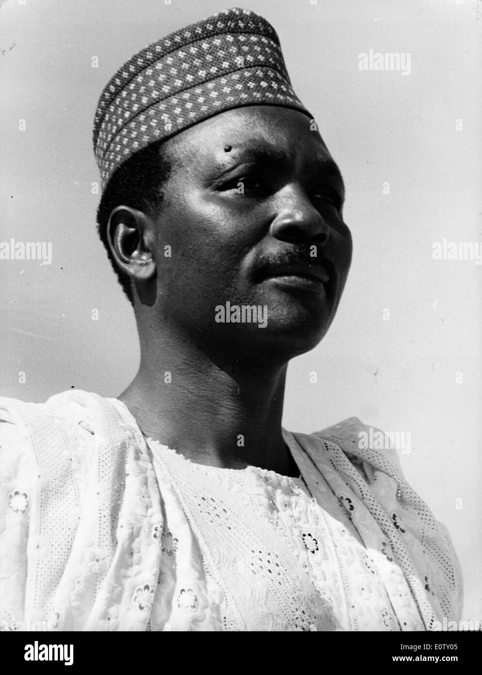 Close-up of Head of State Yakubu Gowon in traditional dress - Stock Image