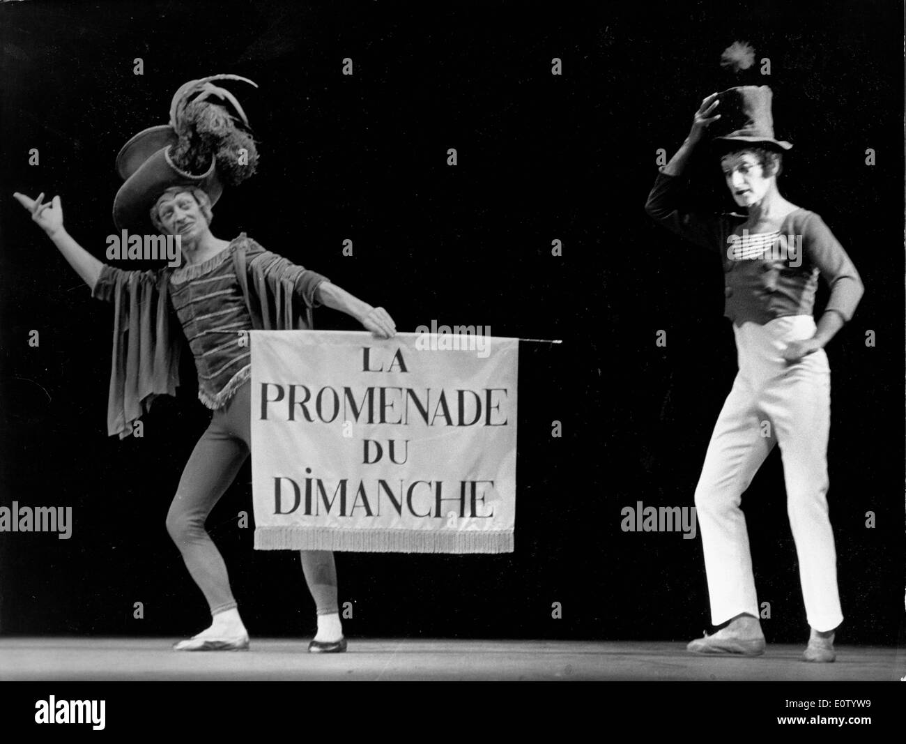French mime Marcel Marceau on stage with another mime - Stock Image