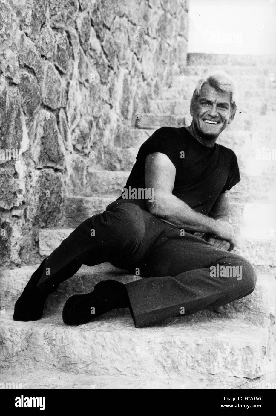 Portrait of actor Jean Marais on stone steps - Stock Image