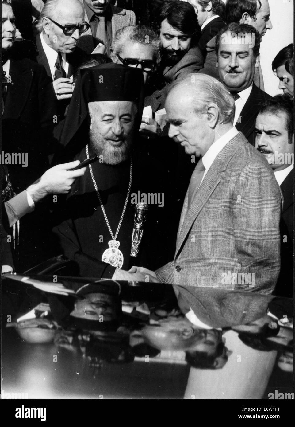 Archbishop Makarios III with Konstantinos Karamanlis - Stock Image