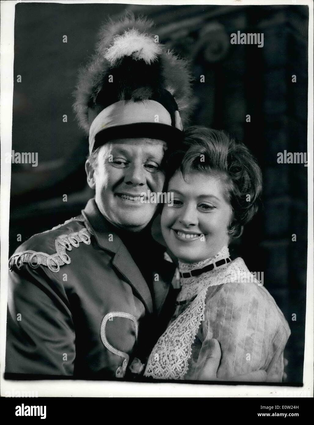 Feb. 02, 1961 - ''The Music Man'' rehearsal: Twelve-year old Gillian Martindale, from Norbury, who makes her stage debut in ''The Music Man'', was rehearsing at the Adelphi Theater today with leading man Van Johnson (''Professor'' Harold Hill), and Patricia Lambert (Marian Paroo). Gillian, who plays Gracie Shinn, a singing, dancing and speaking role, has been acting professionally in films since she was six. Her latest is ''Blue Murder at St. Trinians''. ''The Music Man opens at the Adelphi on March 16th, after a short proviscial run at the Hippodrome, Birstol, beginning Feb - Stock Image
