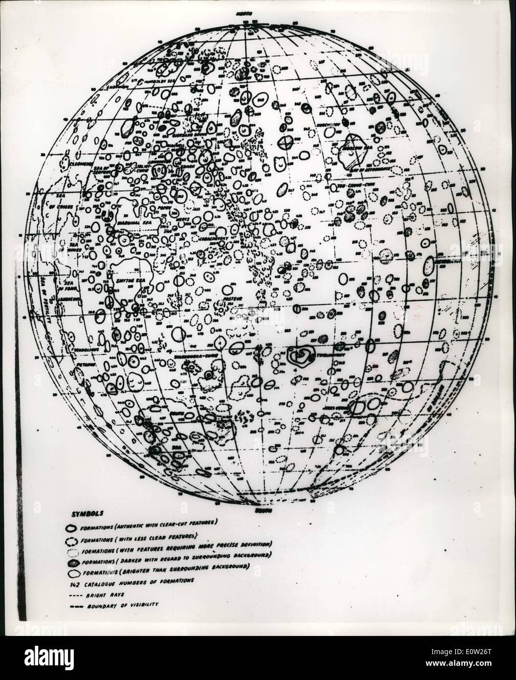 Dec. 12, 1960 - Amazing map of the reverse side of the moon. Seen for first time outside the Soviet Union. This is the first appearance outside the Soviet Union of the map of the reverse side of the Moon. It was compiled jointly by the Sternberg Institute of Astronomy and the Central Research Institute of Geodecy - Aerial Photography and Cartography in January - April 1960. On the basis of pictures relayed from the Soviet Automatic interplanetary station on October 7th 1959. The miridional strip between 30. deg. and 70 deg. long was compiled according to maps of the visible side of the moon. - Stock Image