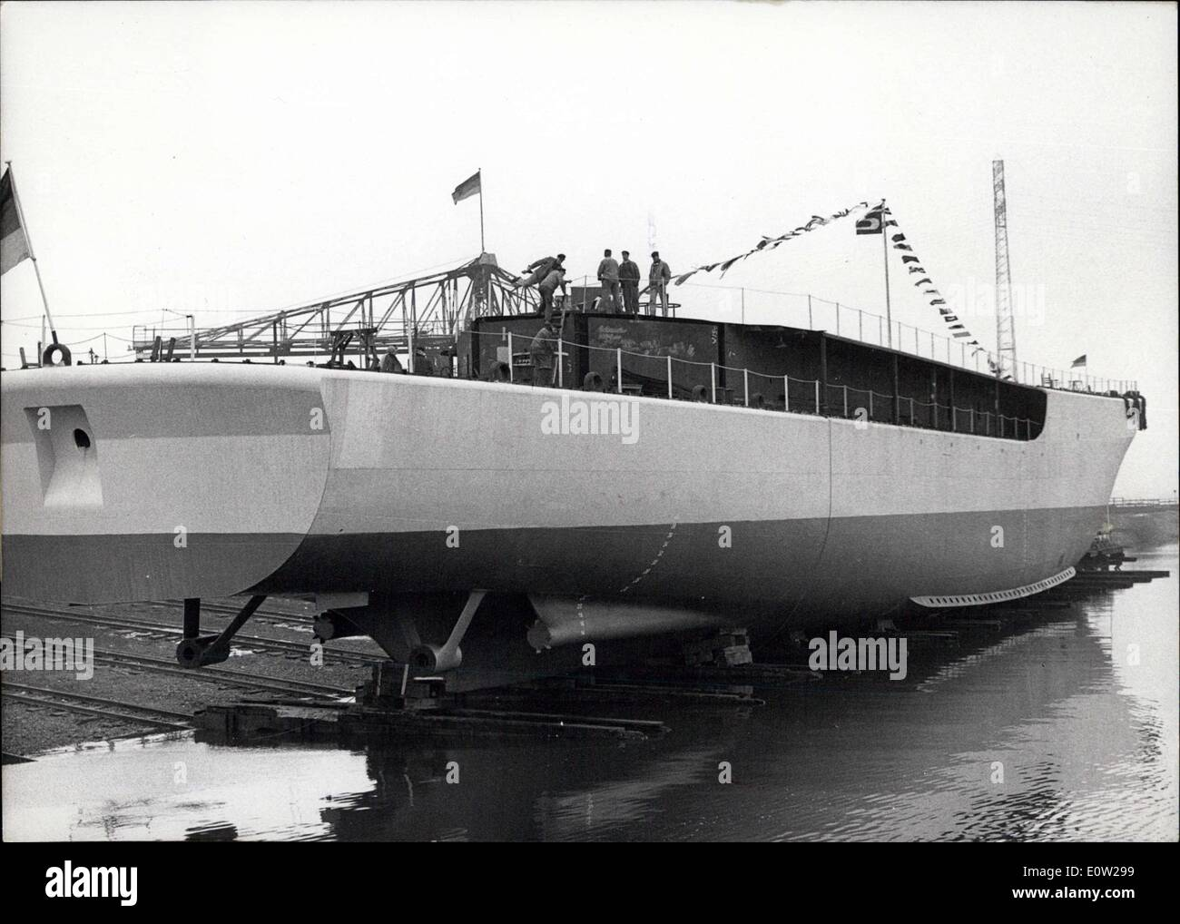 Dec. 16, 1960 - The 100th ship for the German Navy launched: On Dec.15th, in Hamburg the 100th ship for the Germany Navy that was built in Germany, was launched. The Ship is equipped with 6 Mercedes- Benz motors of the type MB 839 BB. Each motor has a capacity of 2280 HP. The Ship was named ''Mosel' - Stock Image