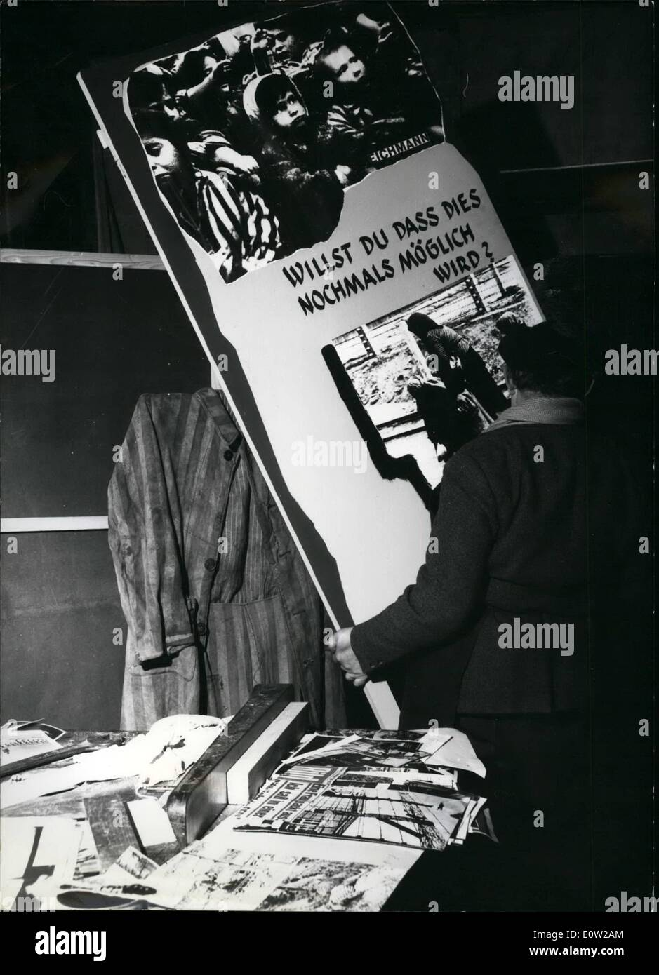 Feb. 02, 1961 - Eichmann exhibition in Munich: On Feb. 18th, in Munich Burgerbraukeller (where on Nov. 9th, 1939 the simulated assault on Hitler took place), an exhibition will be opened under the title ''Massacre in the sign of the Swastika''. The exhibition contains several hundred documents, pictures and historical indications about the pursuit of Jews under Hitler and the others responsible for it. The exhibition is of special interest as in March the trial will begin in Jerusalem against Adolf Eichmann, the most important man in connection with the pursuit of Jews - Stock Image