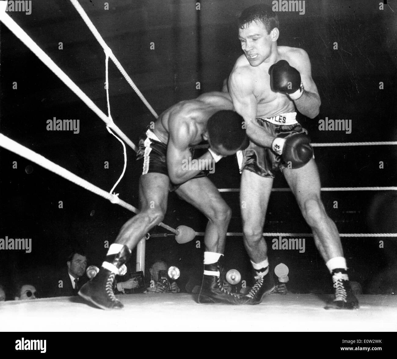 Boxer Dave Charnley against Fernand Nollet Stock Photo