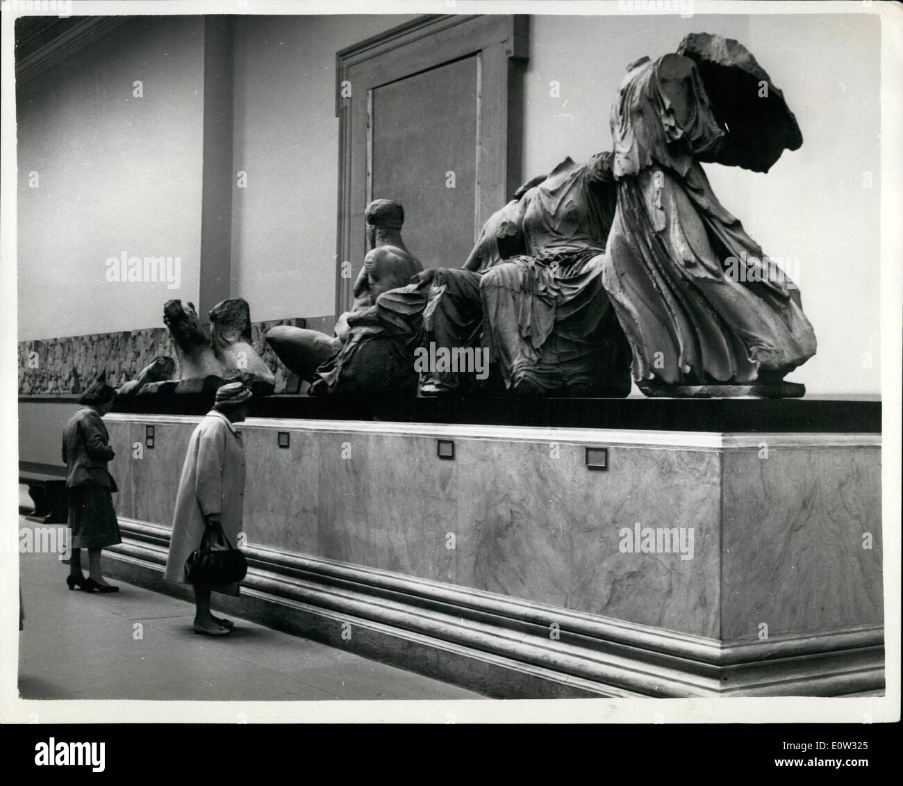 May 05, 1961 - Permanent home for the famous Elgin Marbles - at the British Museum. campaign for their return to Athens.: The famous Elgin Marbles are on display at the Old Gallery of the British Museum - until work is completed on the restoration of the Duveen Gallery which is being prepared for them as a permanent home. the marbles were in vaults in various parts of the Museum during the war for safe-keeping until they were displayed again in September 1949 - Stock Image