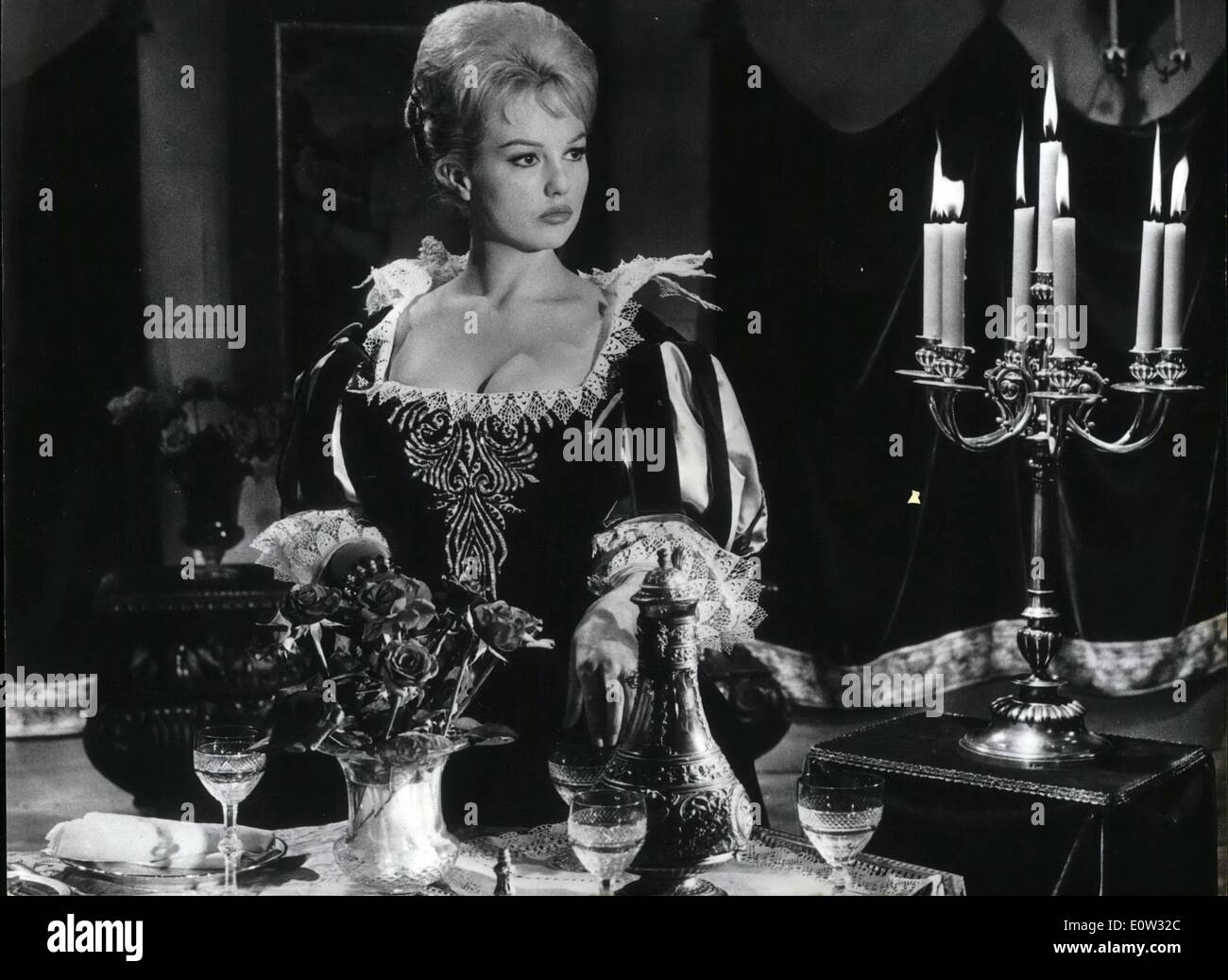May 05, 1961 - New screen version of ''Three Musketeers'': A new screen version of Alexander Dumase famous novel ''The Thress Musketeers'' is now i the making in a Paris studio. Photo shows Mylene Demongeot impersonating Milady. - Stock Image