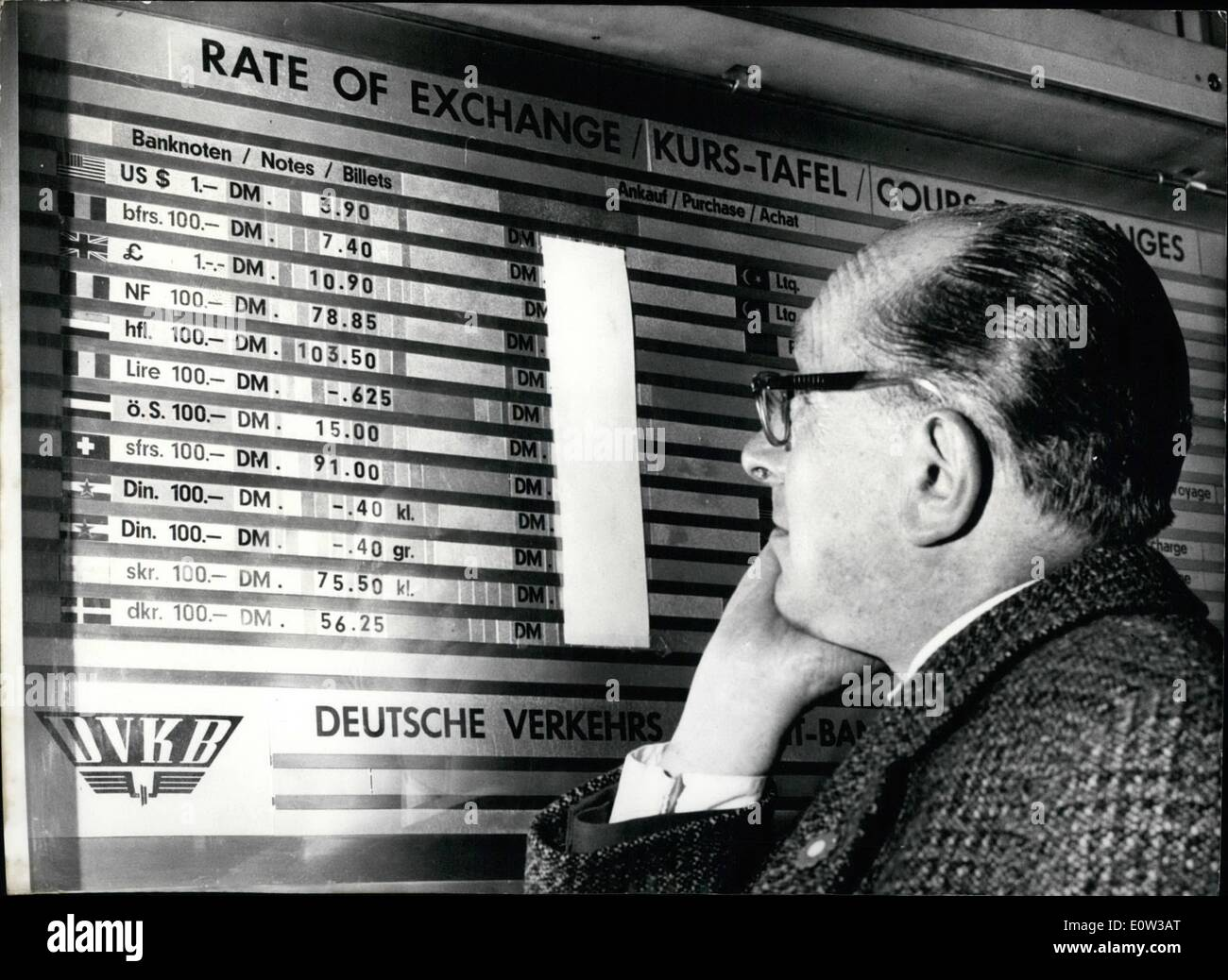 Mar. 03, 1961 - The value of the German Mark has been raised: The higher valuation of the D-Mark in International financial transactions is one of the most important economic events in recent years for Germany. The rate of exchange for the US dollar is reduced 5% from DM 4,20 to about DM 4 -- which decision has of course corresponding effect on any currency which is linked to the dollar. The raised purchasing power of the German money will reduce local prices of imported merchandiser, but it will boost prices of German exports to foreign countries - Stock Image
