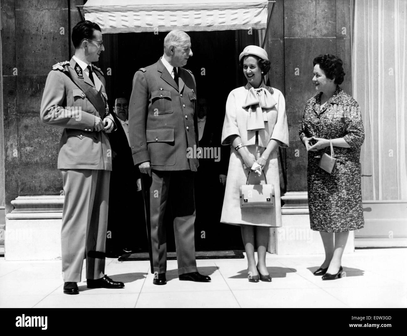 Belgian royalty visits Charles De Gaulle - Stock Image