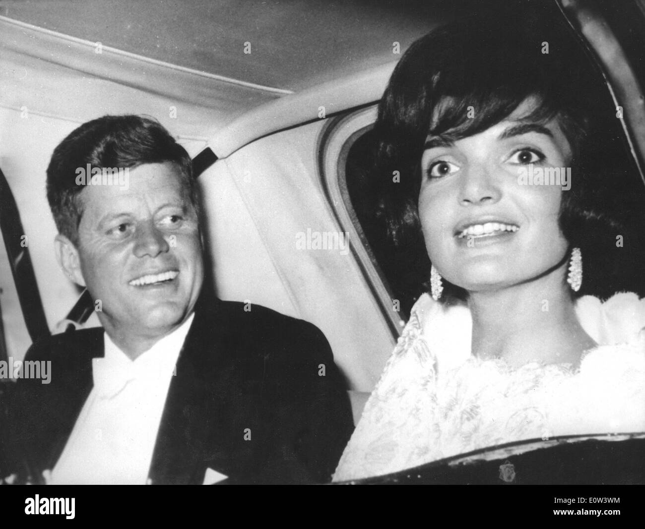 President Kennedy and wife Jackie on a State visit to Paris - Stock Image