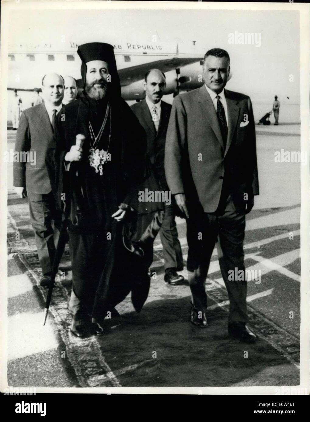Jun. 06, 1961 - President Makarios In Cairo. The President of Cyprus, Archbishop Makarios arrived in Cairo over - Stock Image