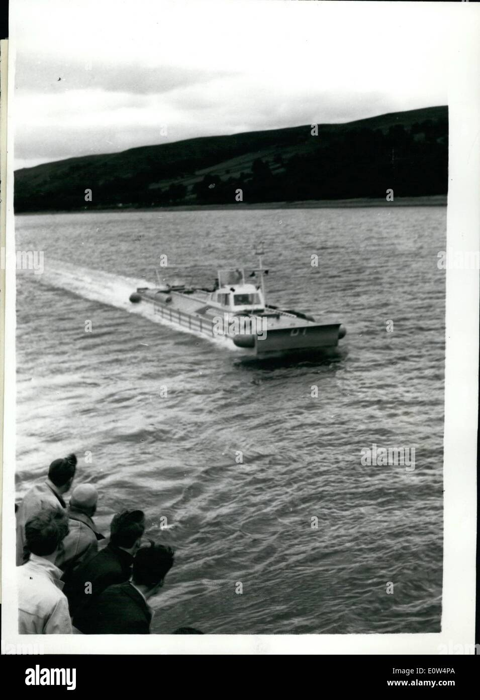 Jun. 06, 1961 - Britain's first ''Hovership'' - makes its Public debut, It just floats across top of the water..70 Passengers; Britain's first ''Hovership'' - built by William Denny an Brothers Ltd., in collaboration with Hovercraft Development Ltd., made its first public debut yesterday - on Gareloch, near Dumbarton. The 4 1/2 ton machine is the first phase of an intensive research program being undertaken to produce a passenger carrying hoverferry b y next year - Stock Image