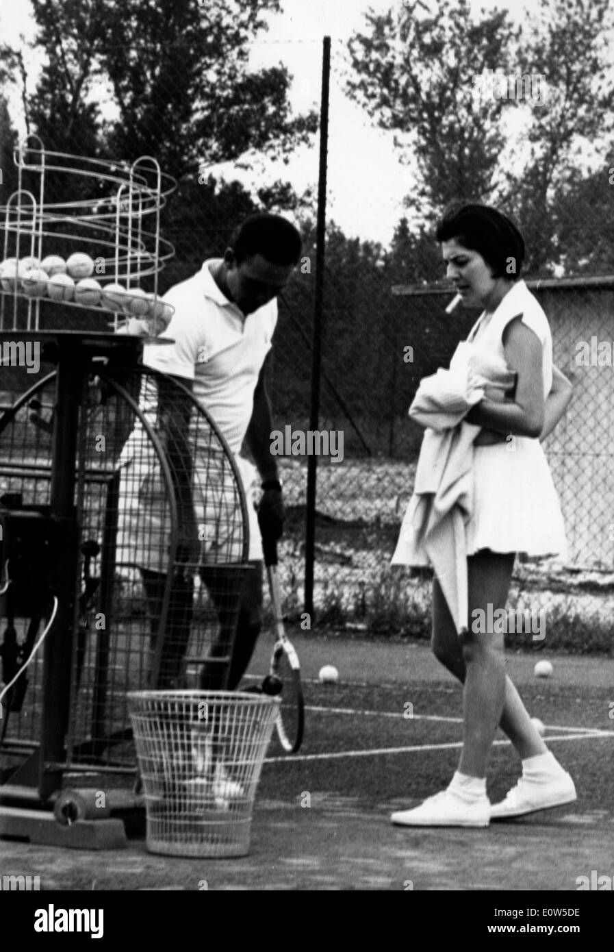 Princess Soraya with her coach during a tennis lesson - Stock Image