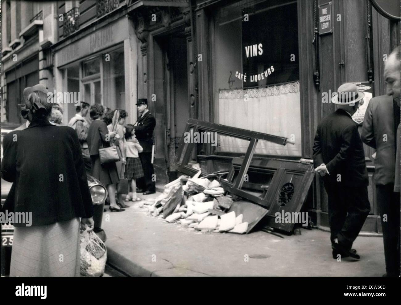 Jul. 14, 1961 - Passers-by Look at Mysterious Bastille Day Explosion Damages .co - Stock Image