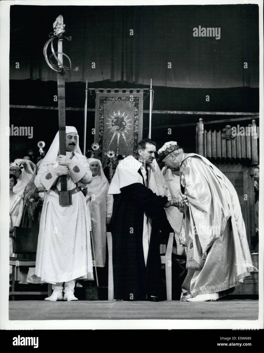 Aug. 08, 1961 - The National eisteddfod at rhos - near wreeham. the new Bard is Chaired. The Rev. Emrys Edwards was chaired for - Stock Image