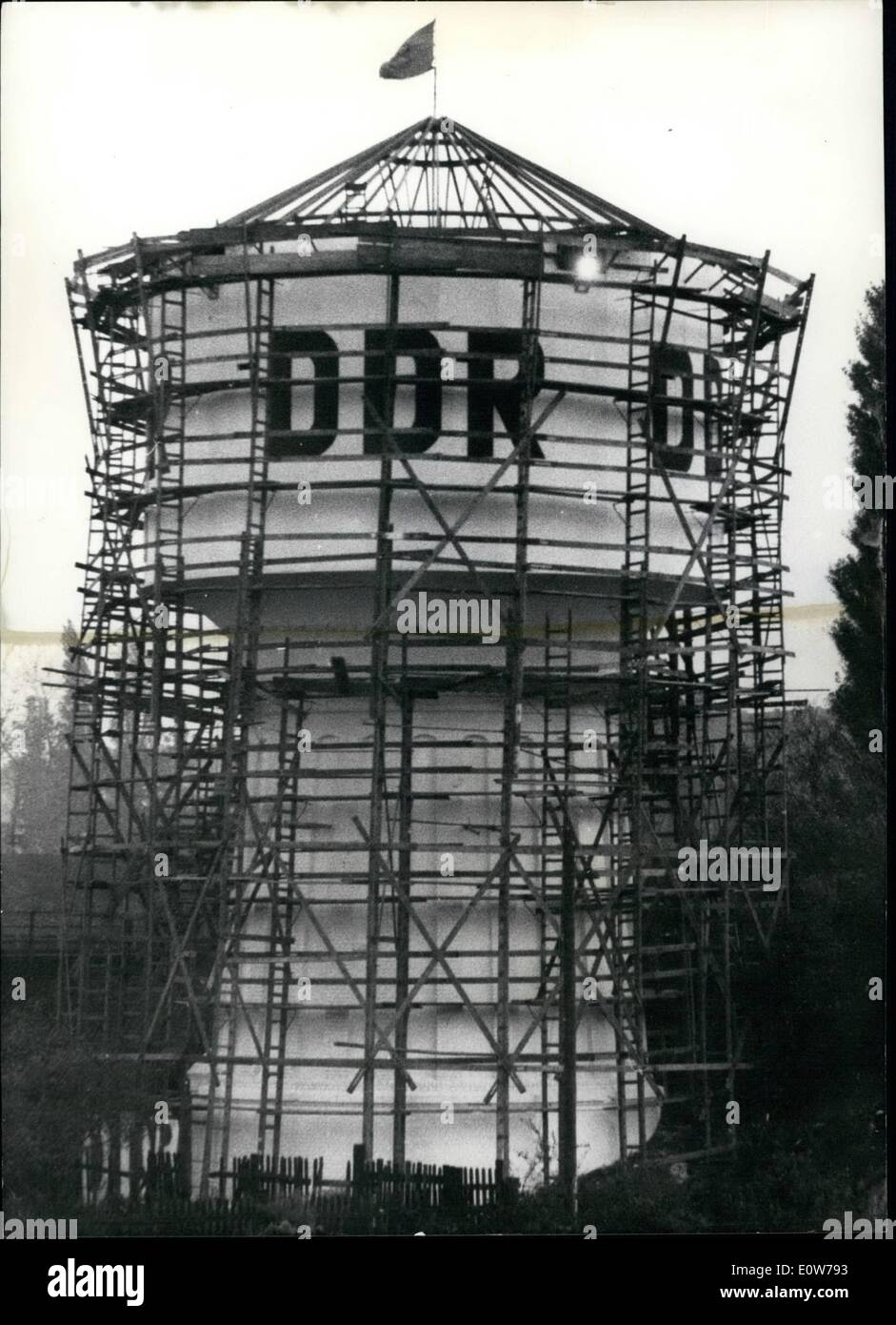 Oct. 10, 1961 - A big anger for the West - Berliners: Is the water - tower of the Soviet zone Reinchsbahn. The communists authorities has put on the letters ''DDR' and has accupated it by ''Transport - Polizisten'' with machine - guns and small machine - guns at this water-tower is effectively more than 180 yards in West Berlin territory and stands not in the Soviet Sector of Berlin. - Stock Image