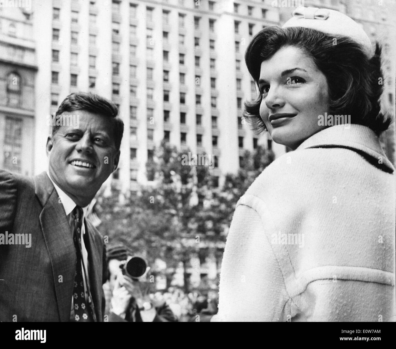 President Kennedy and wife Jackie at a Ticker Tape Parade - Stock Image