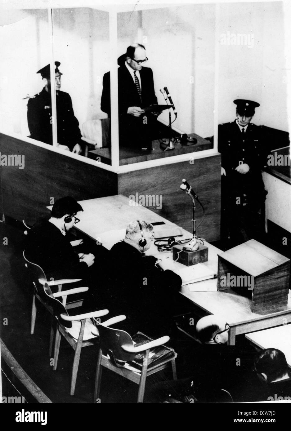 Adolf Eichmann during his trial in Jerusalem Stock Photo