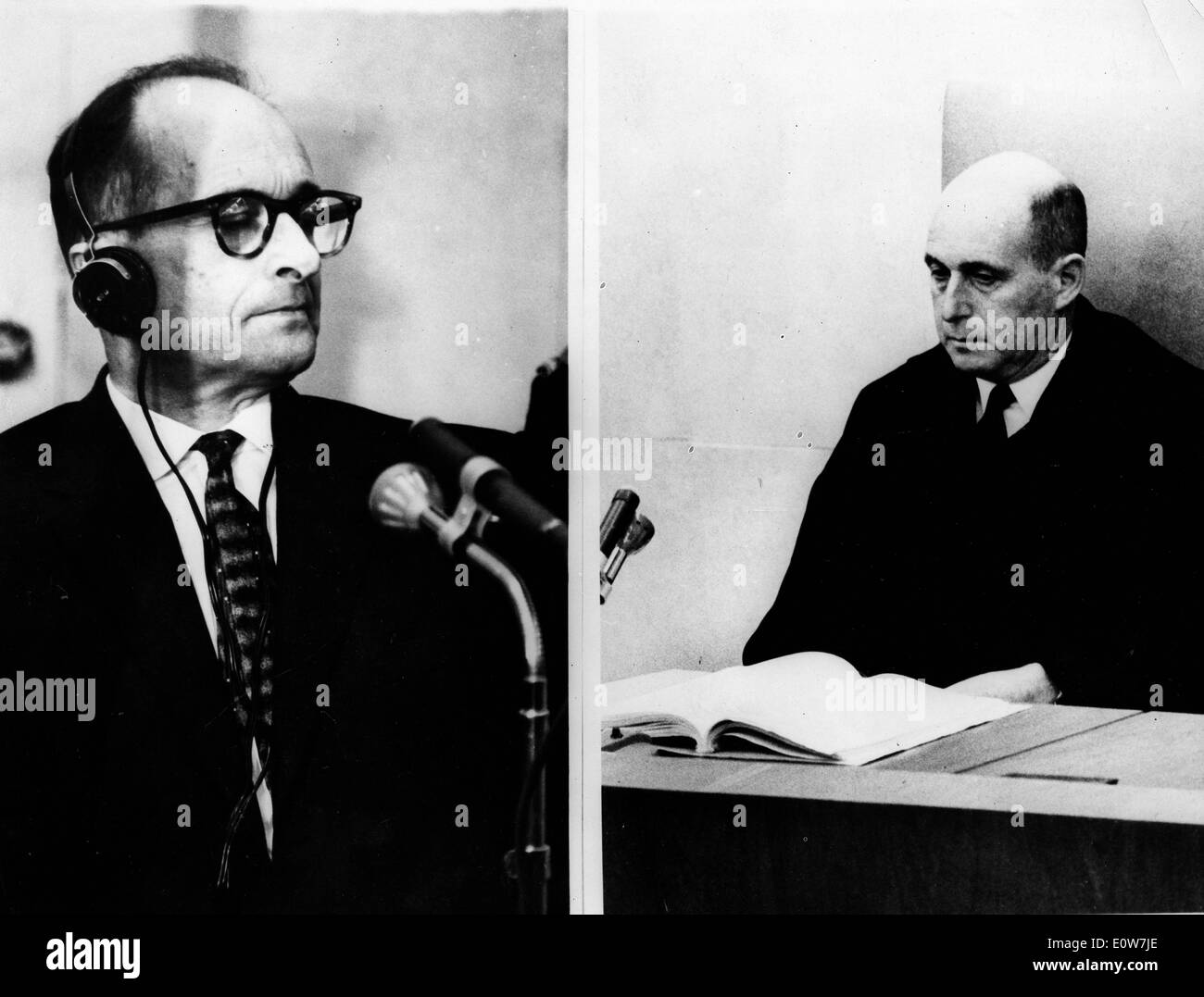 Adolf Eichmann during his trial in Jerusalem Stock Photo