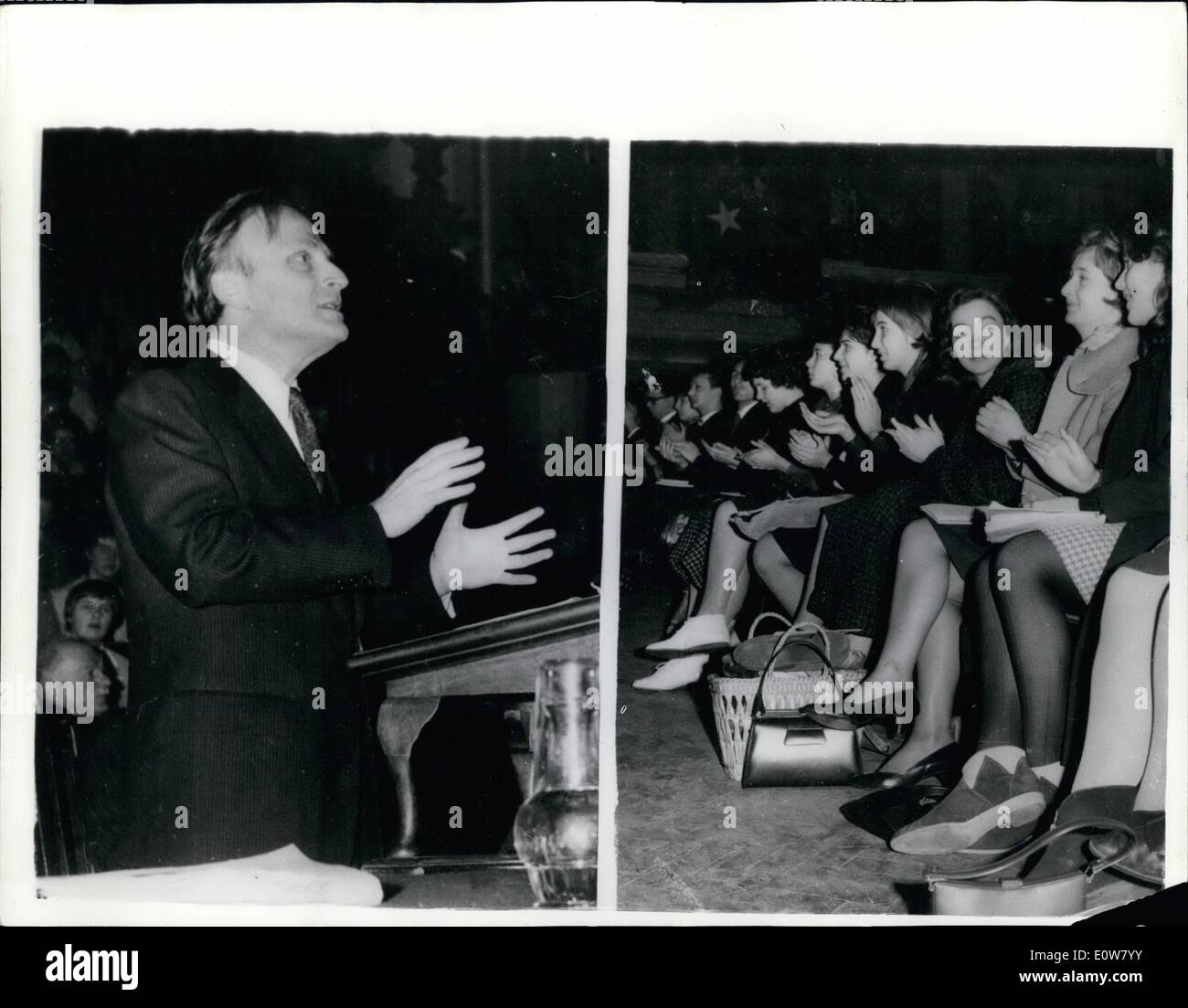 Jan. 01, 1962 - CEWC Lectures Open Today- The Nineteenth Christmas Holiday Lectures sponsored by the Council for Education in World Citizenship opened today at Central Hall in London. Photos Show: LEFT: Mr. Yehudi Menuhin, who formally opened the Conference, speaking - RIGHT: -Members of the audience applauding one of the speakers during the first session this morning. elh Keystone ML/739234/37 - Stock Image