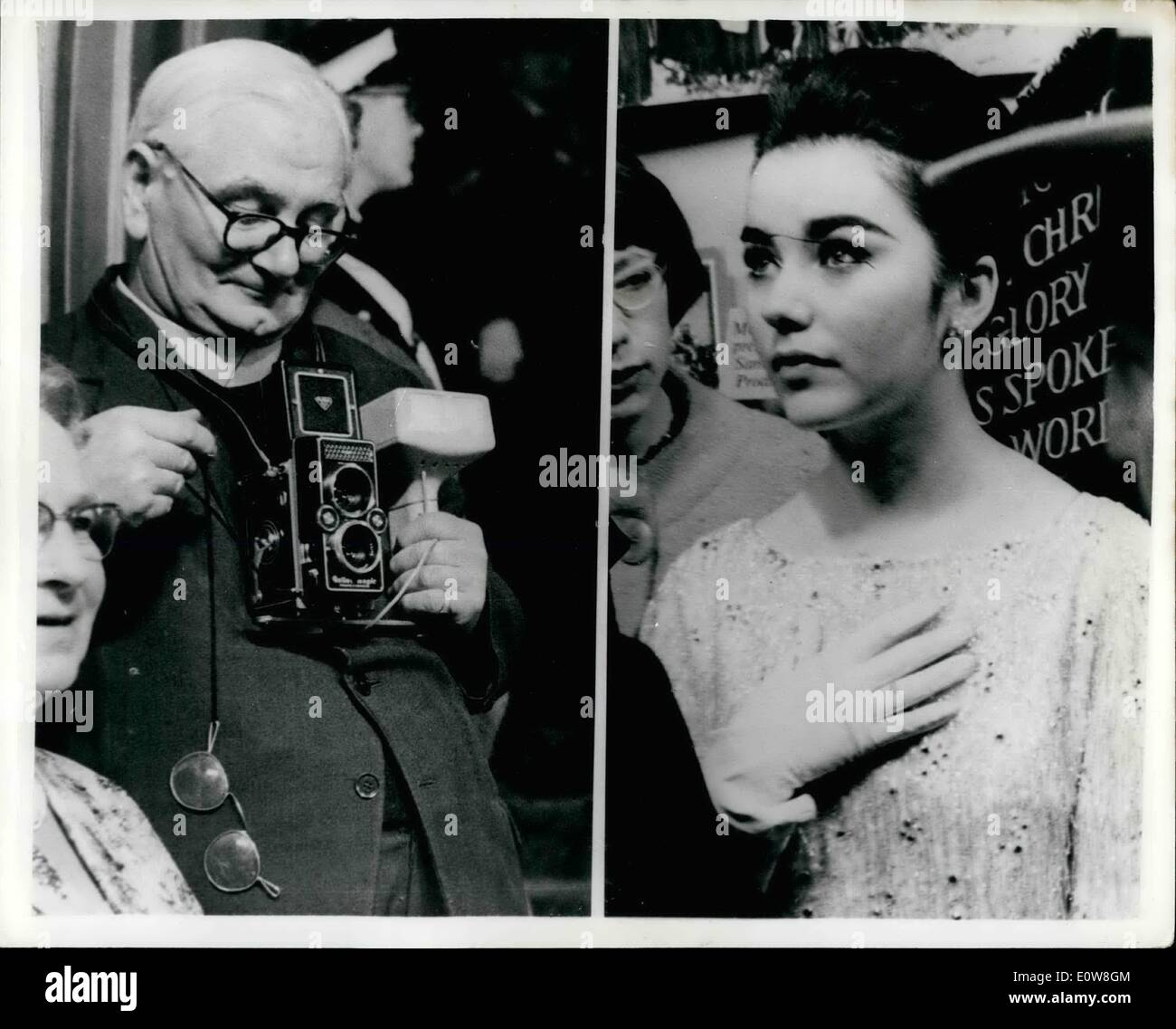 Nov. 16, 1961 - 16-11-61 Premiere of the King of Kings held in London last night. Reverend snaps Salome . The premiere of the film King of Kings was held last night at the Coliseum in London. Photo Shows: right. the Rev. David Sykes, who was taking pictures at the premiere last night on behalf of the London Diocesan Classical Registry and left, a tempting subject for the reverend's camera, star Brijid Bazlen who plays Salome in the film. - Stock Image
