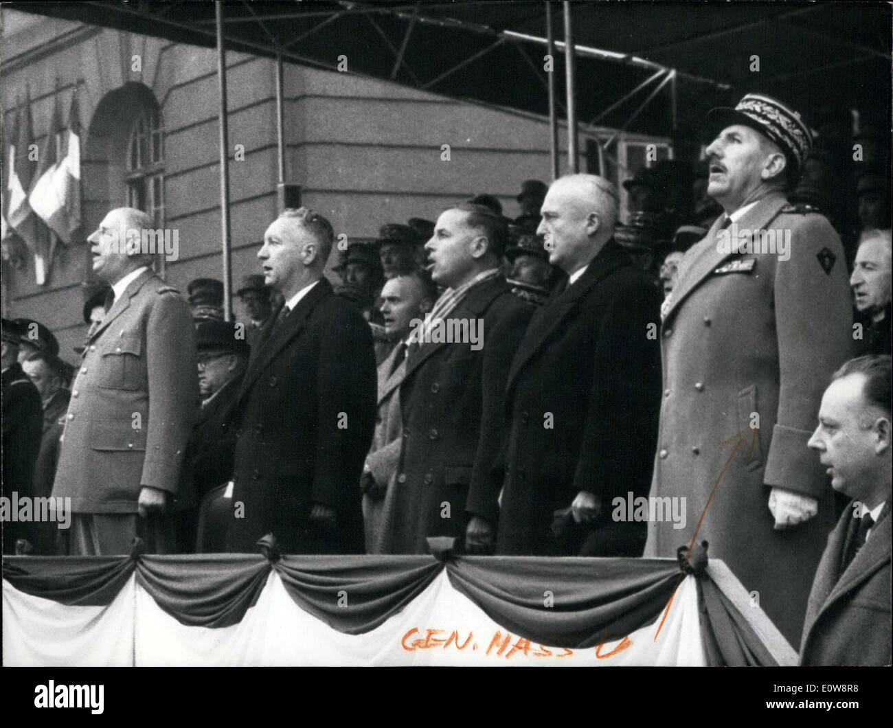 Nov. 23, 1961 - Left to right: General de Gaulle, Minister of Armies Messmer, Veterans Minister Triboulet, Mayor of Strasbourg Pflimlin, and Military Governor General Massu. - Stock Image