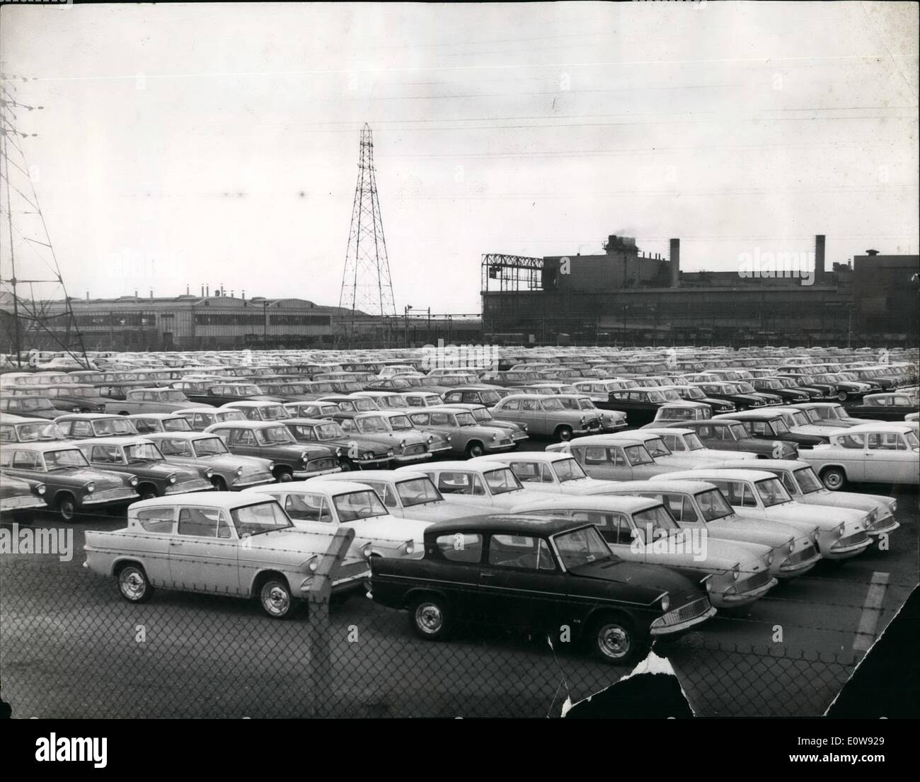 Feb. 02, 1962 - Car continue to Pile up at Fords. Drivers strike creates Bottleneck: The week-old strike of 600 Ford Car delivery drivers - employed by contrasting firma - is creating a vast pile-up of employed cars - in the company Car Parks at Degenham. Further trouble was created yesterday when 240 men who do the final ''spit-and-polish'' work on cars - want on strike because they objected to the Company using their own drivers, who had been helping by transferring completed cars to other car parks - to avoid a bottlen . - Stock Image