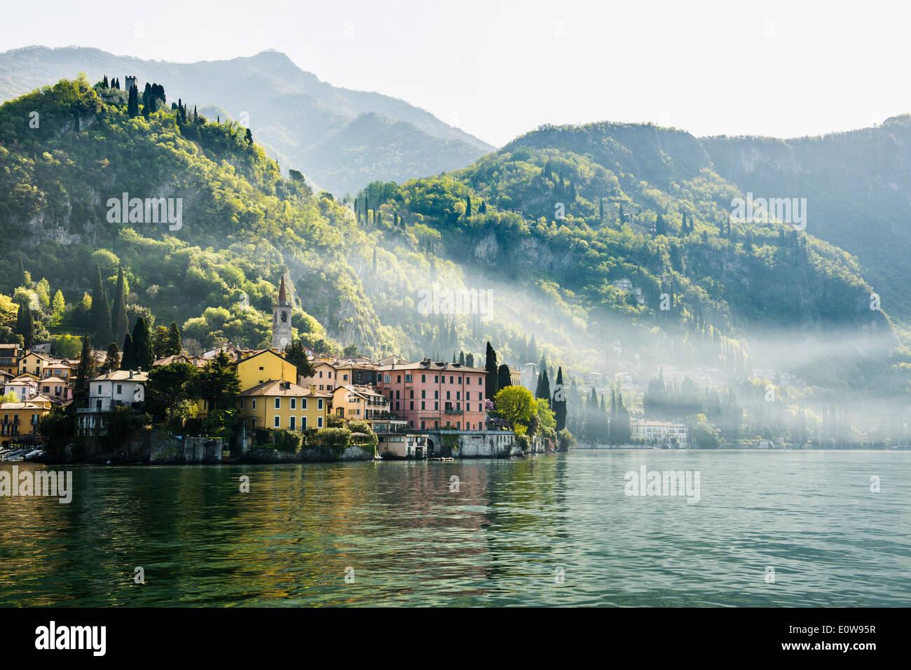 Village on the lake, Varenna, Lake Como, Lago di Como, Lecco province, Lombardy, Italy - Stock Image