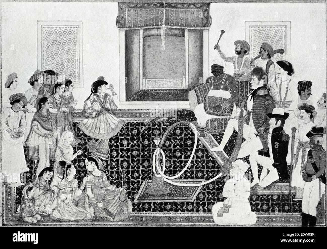 18th century British gentlemen smoking a hookah in an Indian painting from that period. - Stock Image