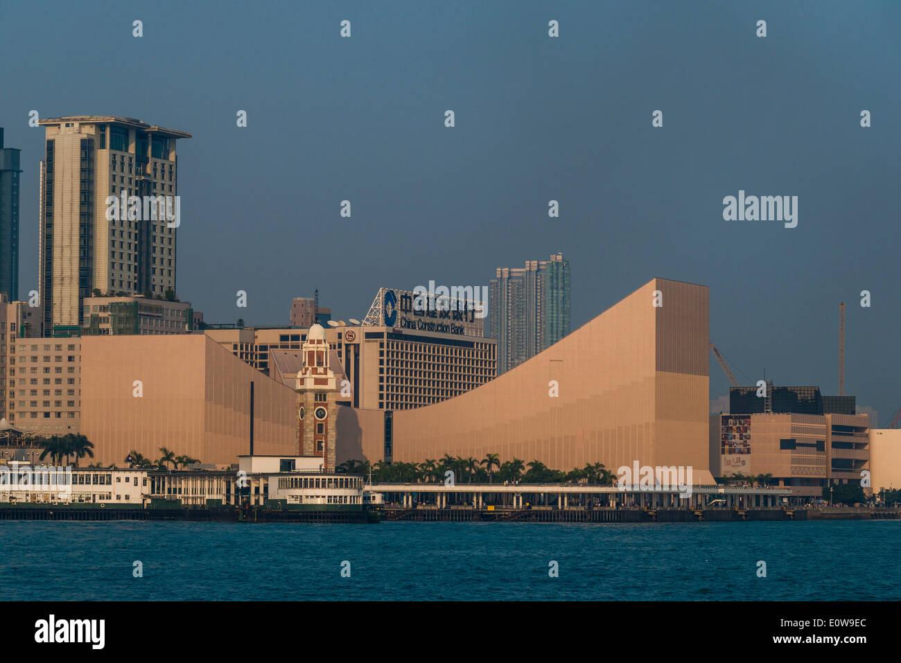 Clock Tower and the Hong Kong Museum of Art, Kowloon, Hong Kong, China - Stock Image