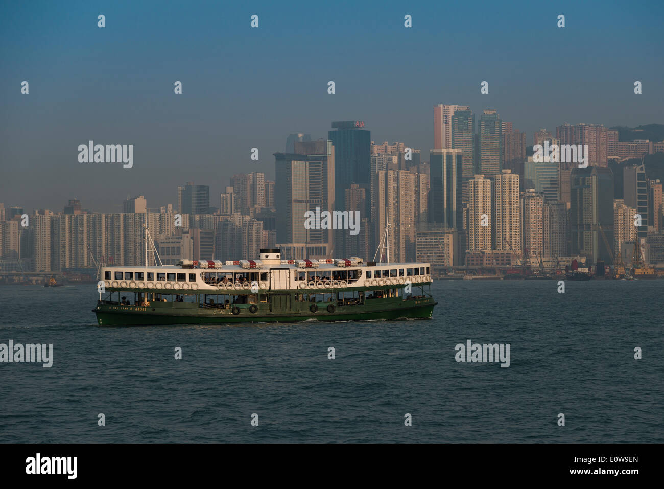 Ferry from Kowloon, Star Ferry, in front of the skyline of Hong Kong Island, Hong Kong, China Stock Photo