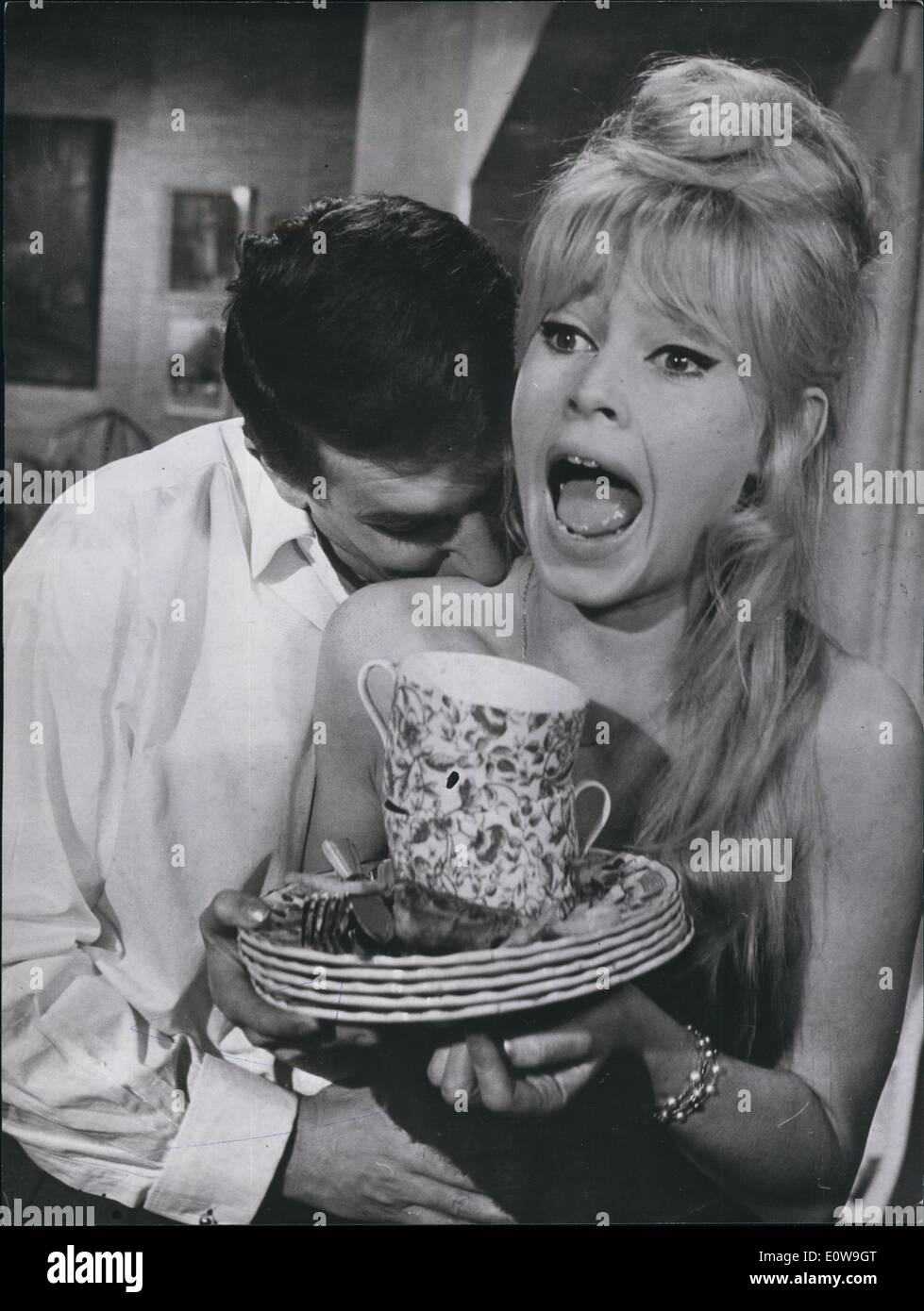 Apr. 04, 1962 - The last few Parisian scenes of the movie ''A Warrior's Peace,'' based on Christiane Rochefort's novel, that stars Brigitte Bardot, have been finished and the whole team has gone to Florence where the second part of the movie will be filmed. Accident Durin - Stock Image