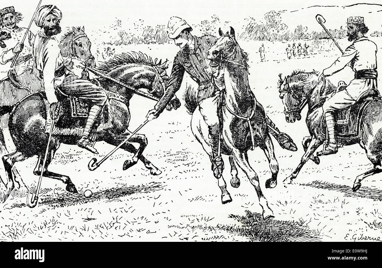 English cavalry officer playing polo against native Indians circa 1875 - Stock Image