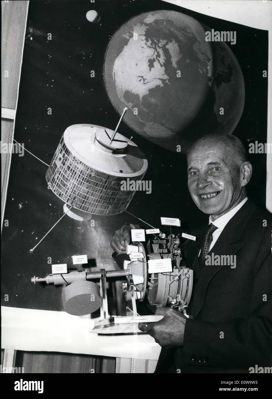 Apr. 04, 1962 - With a speed of over two million miles a day to Mars: Part of the news awaiting the visitors of the aviation show which has been opened in Hannover, today, are propulsion engines for rockets to be held in one hand. This small electric propulsion engine which expels ionized cessium atoms will be able to push a manned aircraft to Mars at a speed of over two million miles a day - Stock Image