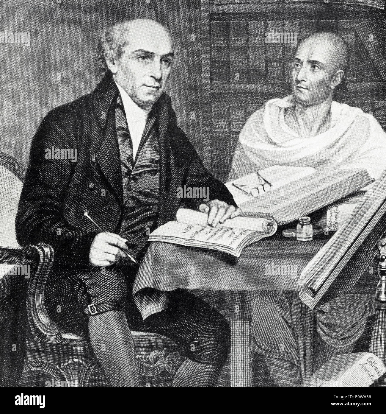 William Carey, Baptist missionary studying with his Brahmin Pandit at Fort William College early 19th century - Stock Image