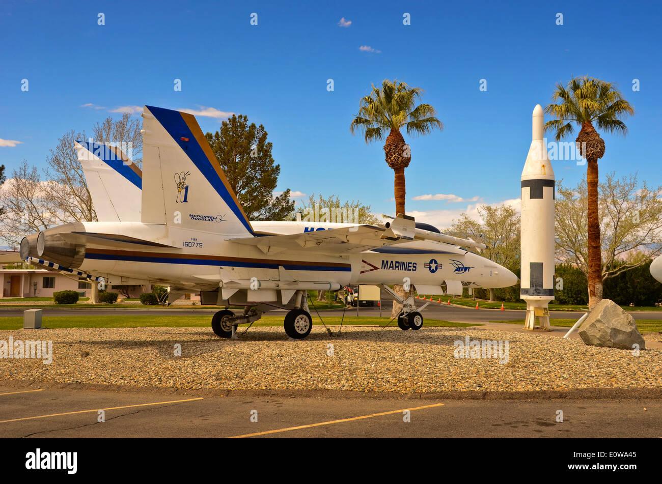 Hornet aircraft at China Lake Naval Air Base California, USA - Stock Image