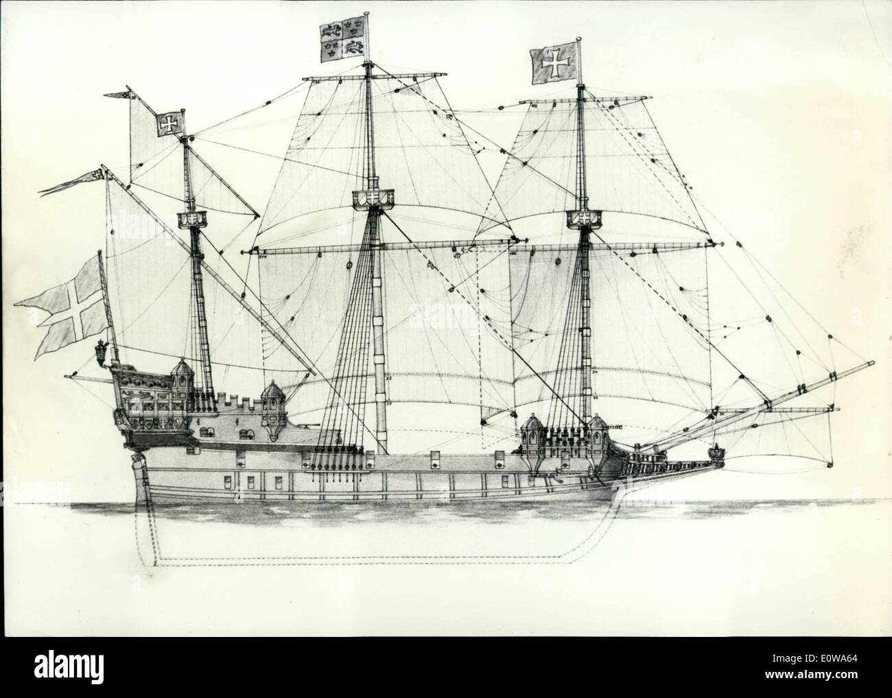 Apr. 04, 1962 - ''Ships from antiquity to modern times'': From the Babylonian ship build about 4500 b. Chr. over the Roman drone from 40 b. Chr., the Venice Galley and Hansakogge about 1500 to the gunboat, type ''Gronsund'' from 1883 extends the special exhibition in a museum in Hamburg which has been opened in these days. Altogether, there are exposed 85 technical designs on ship history outlined by the ships engine C. Dahms (C. Dahms) after ship findings, reliefs, paintings and illustrations on seals, miniatures and paintings on glass. OPS: the tackle draft of a Kogge about 1550 a. Chr. - Stock Image