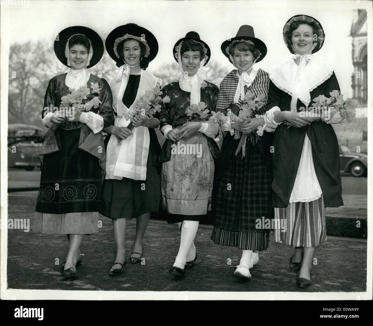 Mar. 03, 1962 - Rehearsal for St. David's Festival. Rehearsals were held today at the Albert Hall for the St. David's Day Festival to be presented there tonight by the London Welsh Association. Photo Shows: Arriving for the rehearsal this morning, left to right: Eirian Morgan, 20, of New Town, Montgomeryshire; Susan Ellis, 18, of Barry; Gwyneth Williams, of Ealing; Margaret Stephens, 19, of Aberystwiyth; and Glenda Howell, 19, also of Aberystwiyth. - Stock Image