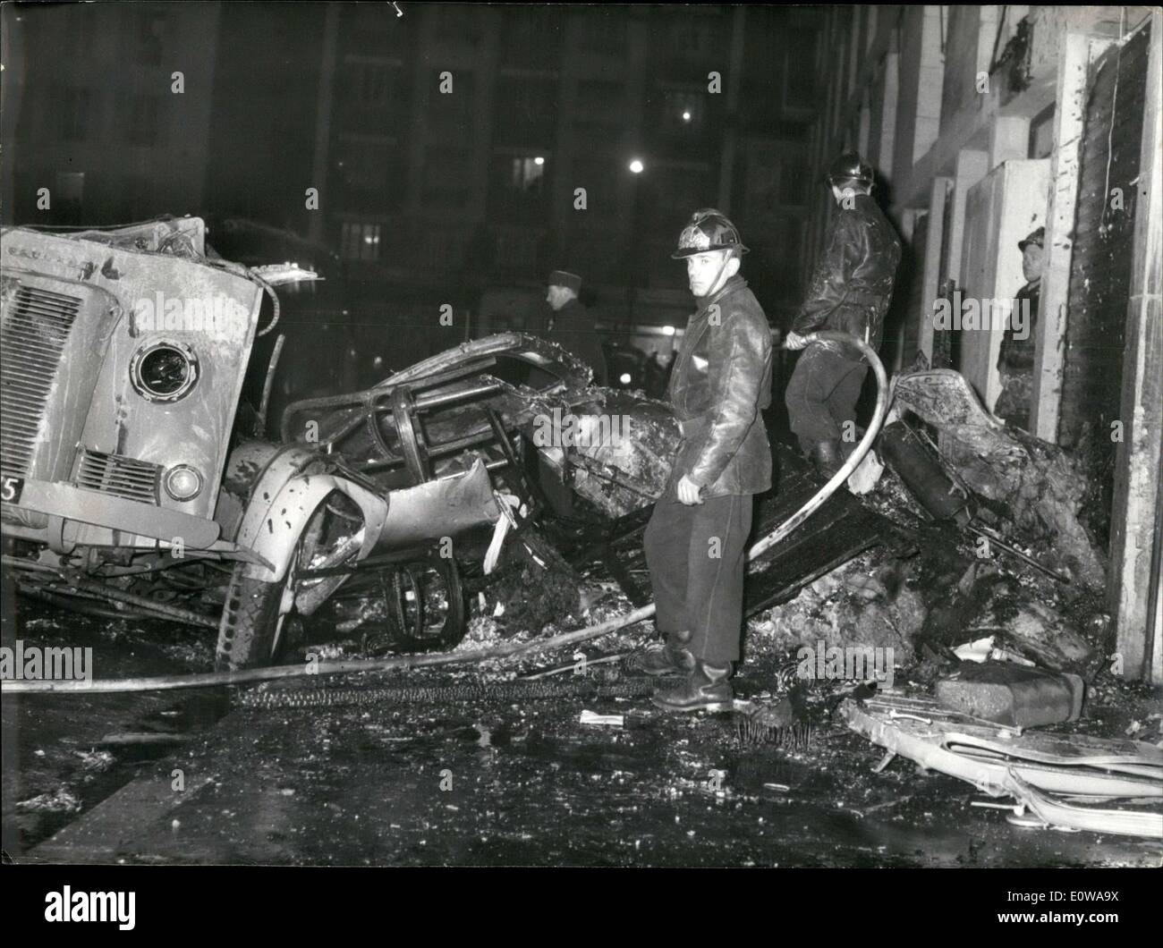Mar. 06, 1962 - A van filled with explosives and munitions missed its target. The vehicle's occupants seem to belong to the O.A.S. (the Secret Armed Organization) - Stock Image