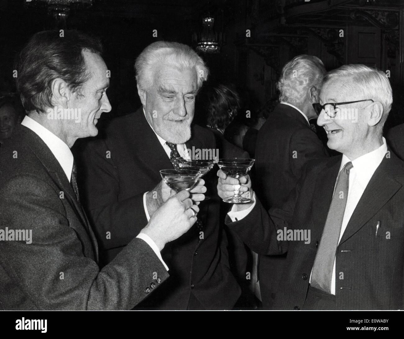 Nov. 5, 1973 - Zurich, Switzerland - Nobel Prize winner KONRAD LORENZ toasts OTTO VON FRIESCH and NIKOLAS TINBERGEN after winning. - Stock Image