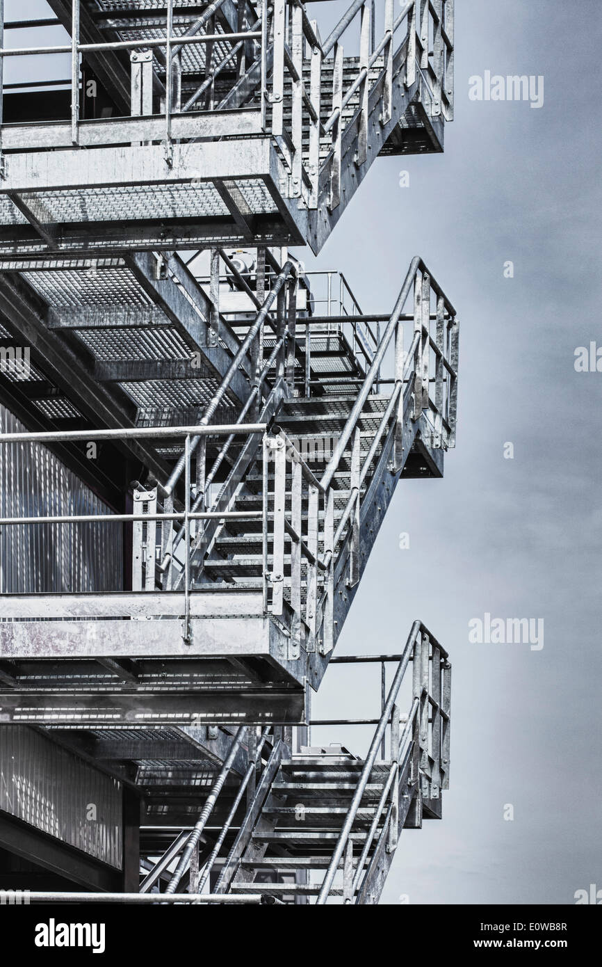 Exterior steel staircases - Stock Image