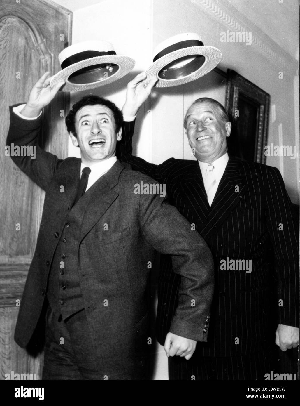 Actors Maurice Chevalier and Marcel Marceau dancing - Stock Image