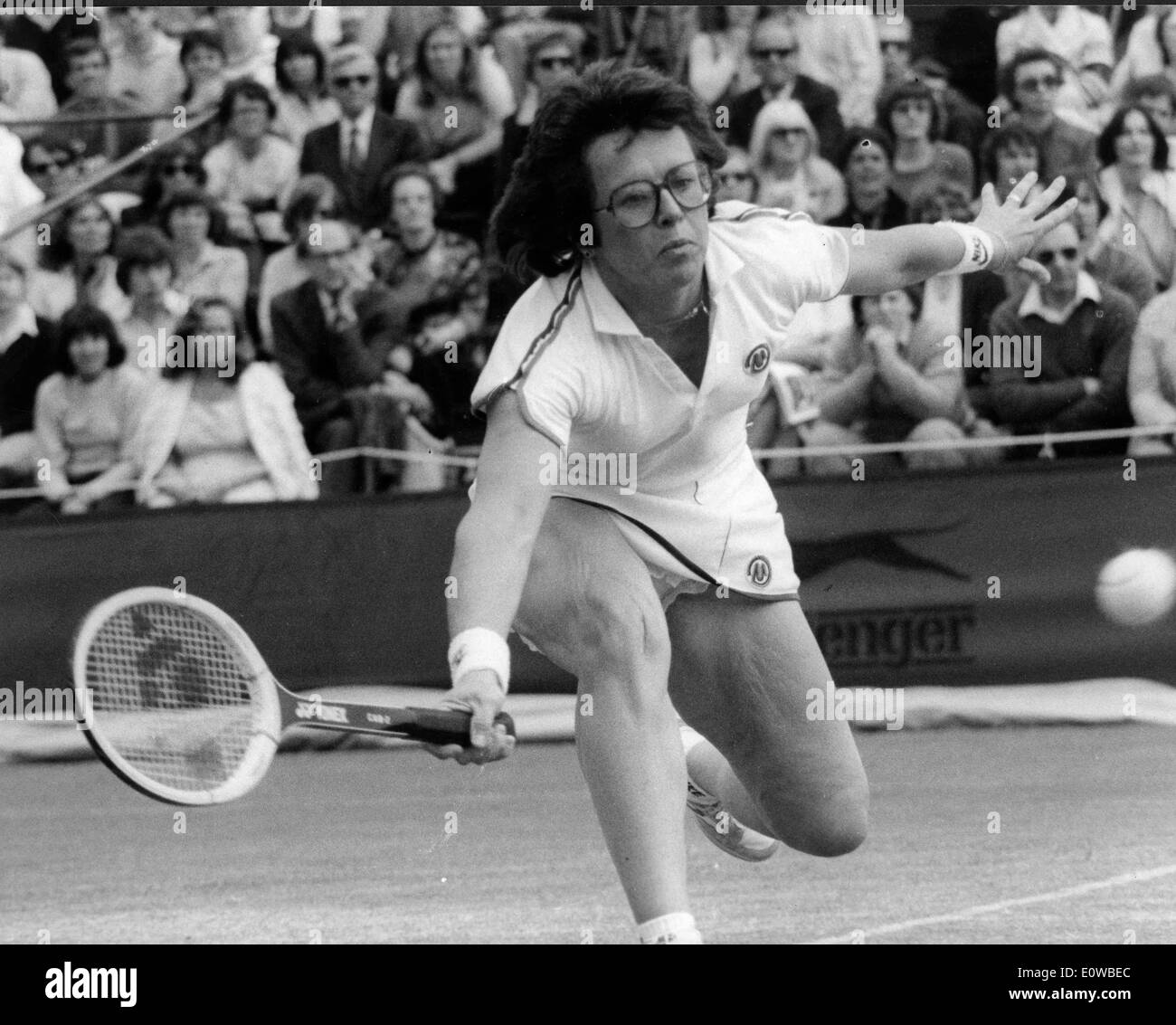 Tennis player Billie Jean King during match Stock Photo ...