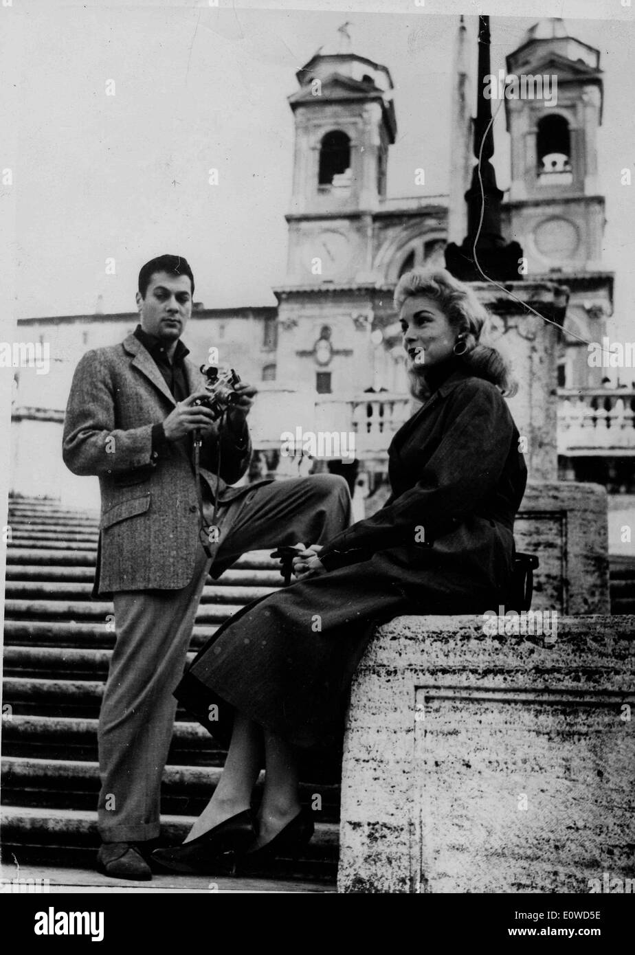 Tony Curtis and his wife Janet Leigh out in London - Stock Image