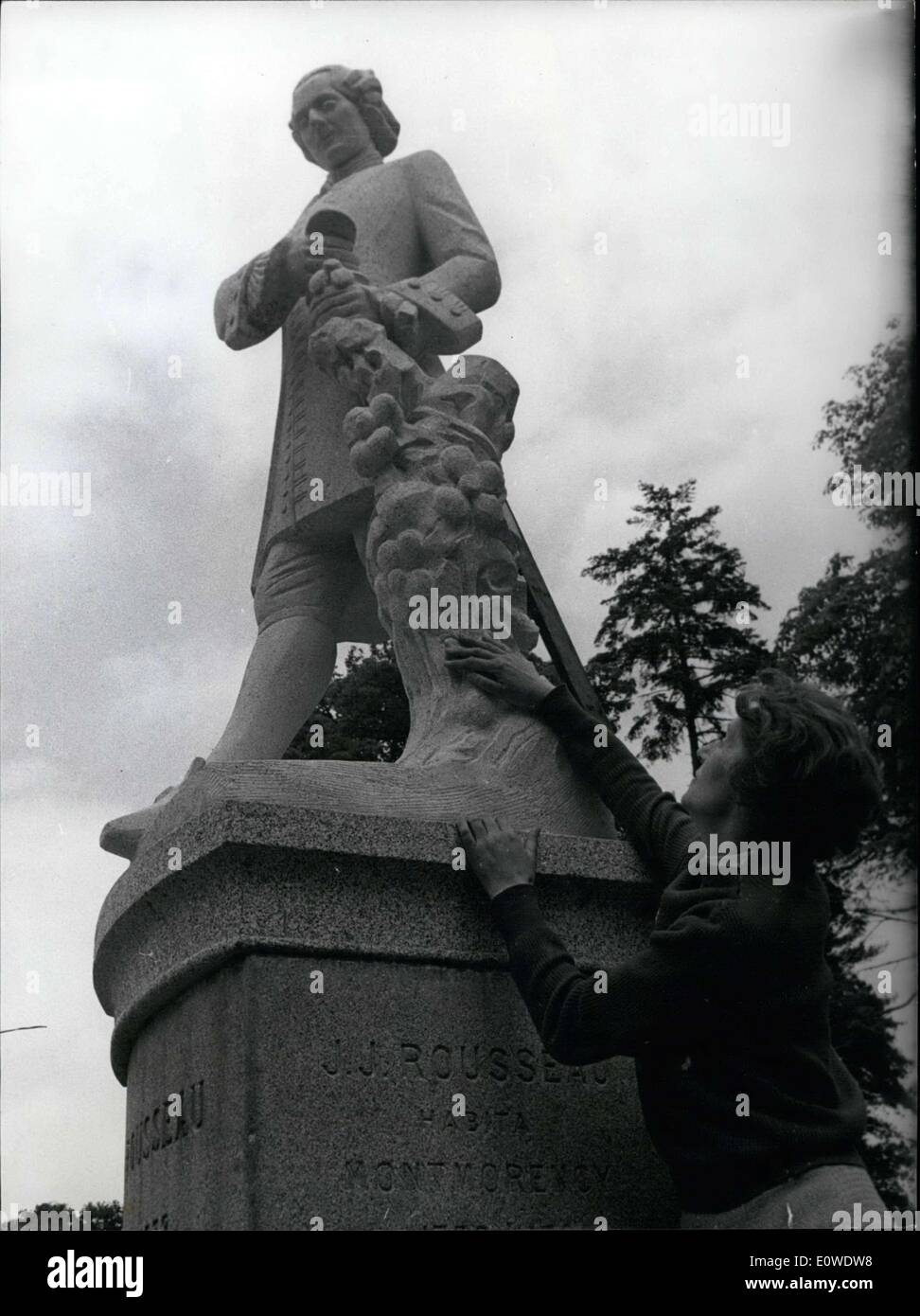 Jun. 13, 1962 - She did the statue for Rousseau's 250th birthday. It is a statue of Rousseau's Emile's father. It Stock Photo
