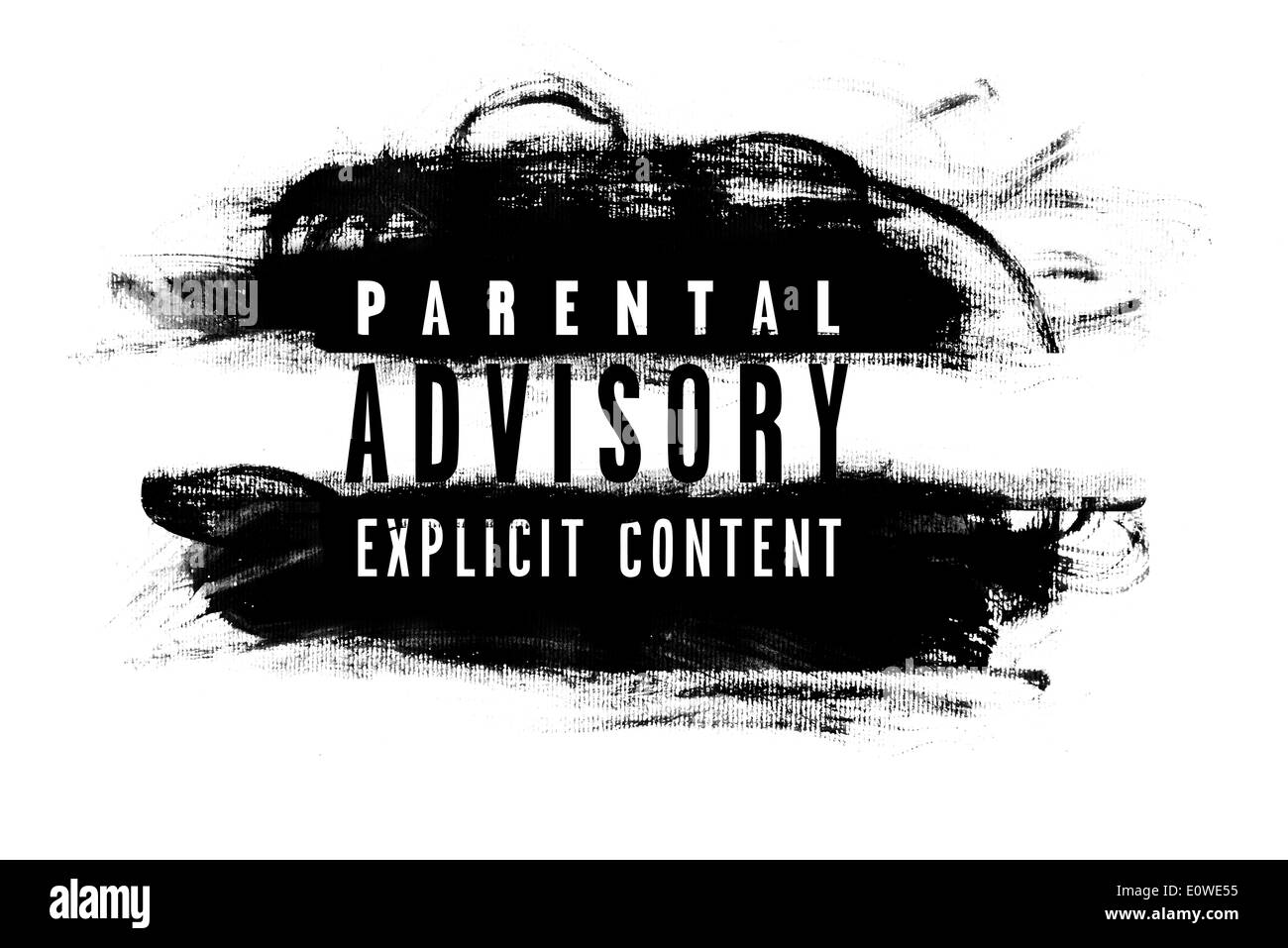 Parental advisory label with grunge brush strokes - Stock Image
