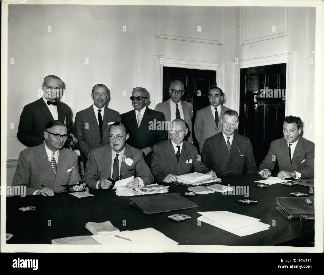 Jul. 07, 1962 - The Annual Meeting Of the International Equestrian Federation: For the first time since it was founded in 1921 the Executive Committee of the Federation Equestre Internationale (International Equestrian Federation-F.E.I.) met at the offices of the British Horse Society, Bedford Square, London, today. Prince Bernhard of the Netherlands took the chair. Photo shows. At the meeting today are (L to R Front Row) M.E.A. Sarasin, 2nd Vice-president (Switzerland) HR.H. Prince Bernhard, of the Netherlands (Chairman), Chevalier H. de Menten de Horne, Sec-General (Belgium), Colonel M.P - Stock Image